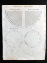 Rees 1820 Antique Print. Astronomical Instruments 18 Quadrants, Dividing